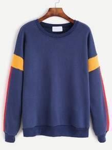 Blue Contrast Dropped Shoulder Seam Sweatshirt
