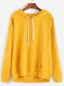 Yellow Striped Side Drop Shoulder Hooded Sweatshirt