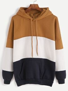 Color Block Drop Shoulder Drawstring Hooded Pocket Sweatshirt