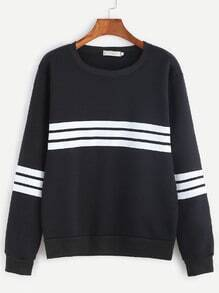 Black Striped Trim Sweatshirt