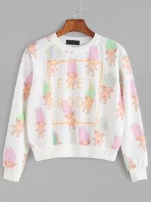 White Cartoon Print Crop Sweatshirt