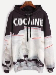 Color Block Printed Drawstring Hooded Sweatshirt