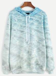 Pale Green Printed Drawstring Hooded Sweatshirt