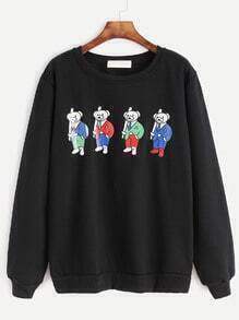 Black Cartoon Bear Print Sweatshirt
