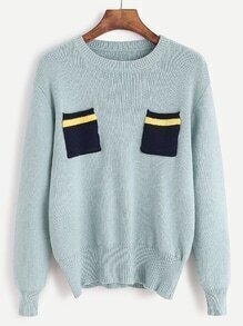 Pale Green Contrast Patch Pockets Sweater