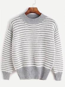 Heather Grey Striped Crew Neck Sweater