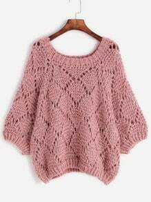 Pink Hollow Loose Sweater