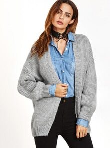 Light Grey Dropped Shoulder Seam Sweater Coat