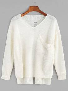 Beige V Neck High Low Hollow Back Pocket Sweater