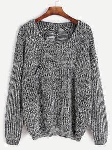Grey Drop Shoulder Hollow Pocket Sweater