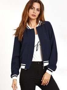 Navy Contrast Striped Trim Raglan Sleeve Jacket