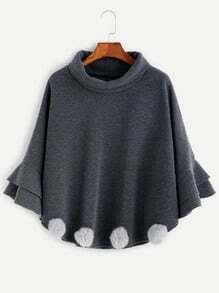 Grey High Neck Ruffle Pom Pom Poncho Coat