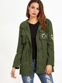 Army Green Print Back Embroidered Patch Drawstring Utility Coat