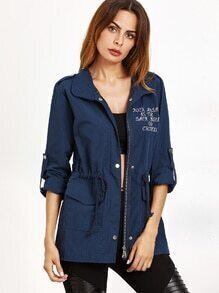 Navy Embroidered Drawstring Dual Pocket Coat