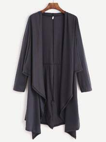 Grey Drape Front Long Sleeve Coat