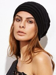 Black Foldover Slouchy Knit Beanie Hat