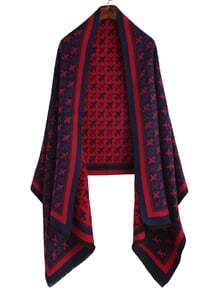 Red Airplane Print Eyelash Fringe Shawl Scarf