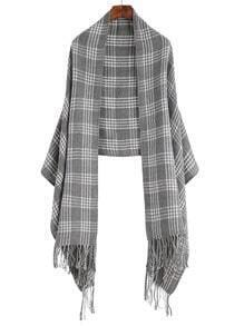 Grey Plaid Long Fringe Shawl Scarf