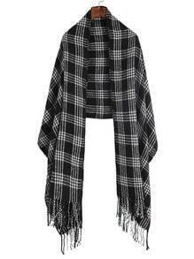 Black Plaid Long Fringe Shawl Scarf