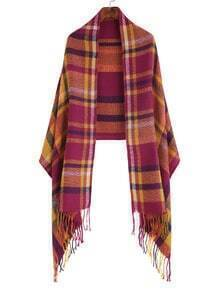 Purple Two Tone Plaid Fringe Edge Shawl Scarf