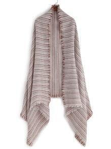 Multicolor Mottled Stripe Eyelash Fringe Shawl Scarf