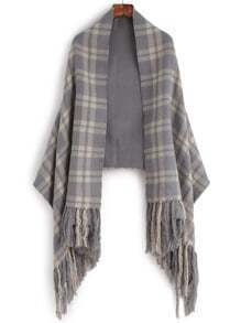 Grey Plaid Long Fringe Warm Shawl Scarf