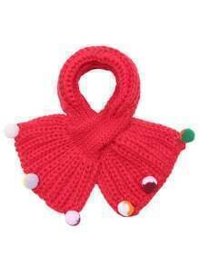 Red Ribbed Pom Pom Trim Knit Scarf