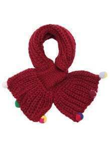 Burgundy Ribbed Pom Pom Trim Knit Scarf
