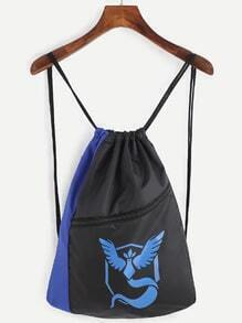 Blue and Black Logo Print Drawstring Nylon Bucket Bag