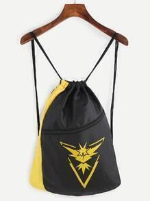 Yellow and Black Logo Print Drawstring Nylon Bucket Bag