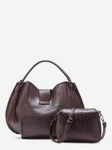Brown Croc Embossed PU Tassel Tote Bag With Crossbody