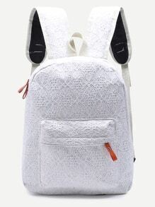 Lace White Front Pocket Backpack