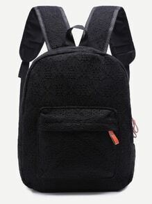 Lace Black Front Pocket Backpack
