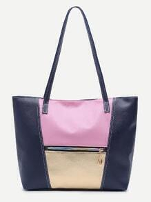 Blue Faux Leather Front Zipper Tote Bag