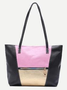 Black Faux Leather Front Zipper Tote Bag