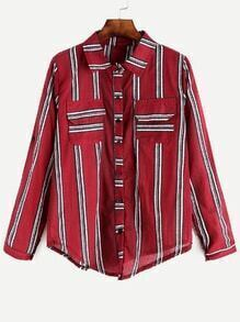 Burgundy Striped Roll Tab Sleeve Shirt