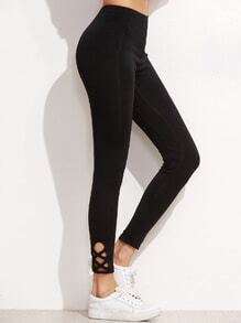 Black Lattice Hem Leggings