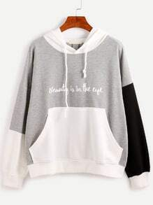 Color Block Slogan Print Hooded Sweatshirt