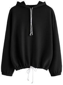 Black Drop Shoulder Drawstring Hooded Sweatshirt