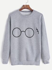 Grey Glasses Print Sweatshirt