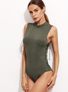 Army Green Eyelet Lace Up Side Keyhole Back Bodysuit