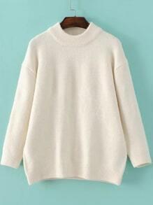 White Crew Neck Ribbed Trim Sweater
