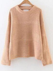 Khaki Round Neck Drop Shoulder Loose Sweater