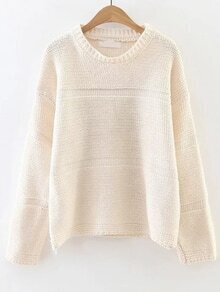 White Round Neck Drop Shoulder Loose Sweater