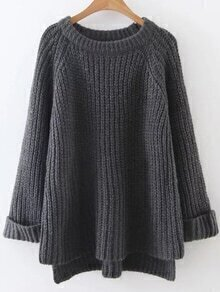 Dark Grey Raglan Sleeve Dip Hem Sweater