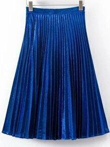Blue Pleated A Line Midi Skirt