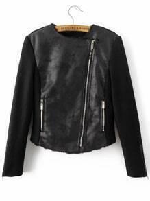 Black Oblique Zipper PU Jacket