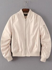 Khaki Zipper Up Flight Jacket With Pockets