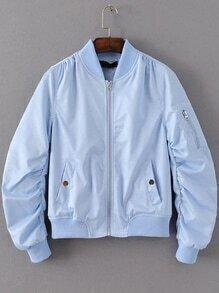 Blue Zipper Up Flight Jacket With Pockets