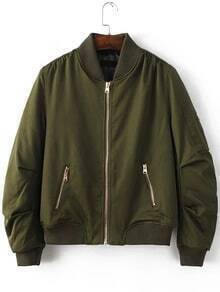 Army Green Ribbed Trim Bomber Quilted Jacket